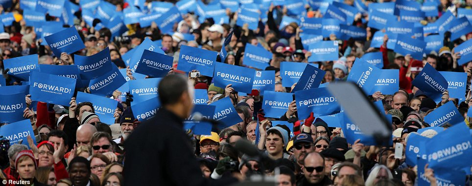 Support: Obama was appearing at an event in Winsconsin, a state he must win to stay in the White House