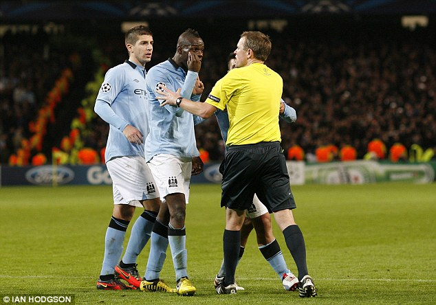 Angry man: Balotelli shares his views with Rasmussen