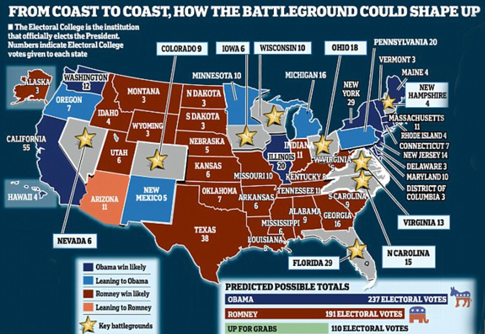 States of the nation: How the voting battleground could shape up coast to coast according to a round up of the latest polls