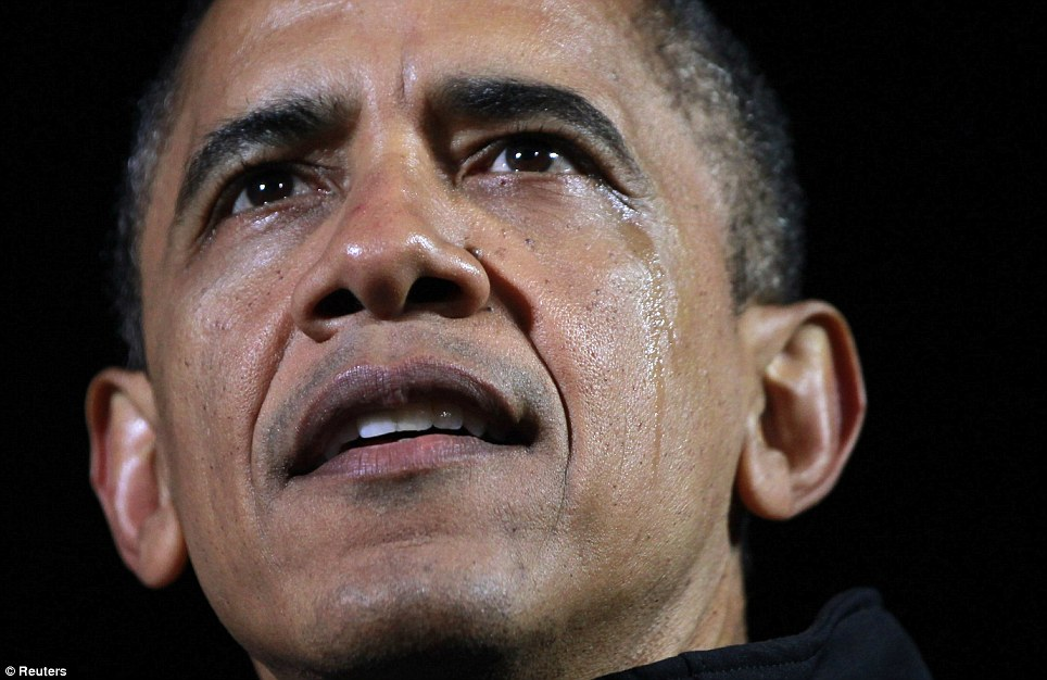 Emotions high: Tears streaked down Obama's cheek during his last campaign rally Des Moines, Iowa