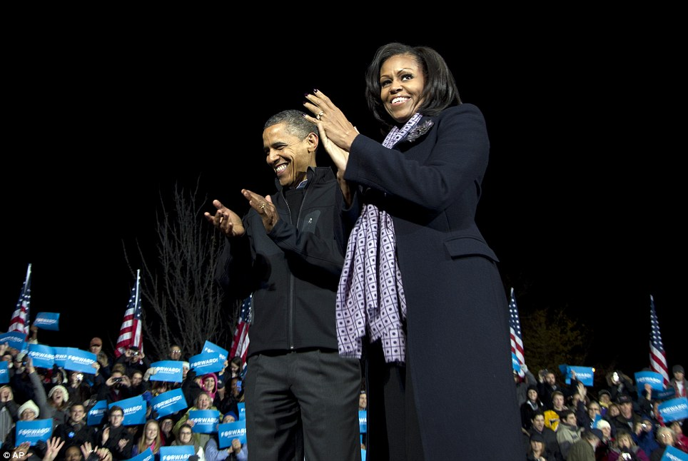 Smiles: In Des Moines, Iowa, Obama savoured but also lamented what would be the last time he would ever hold a campaign rally - for himself, at least