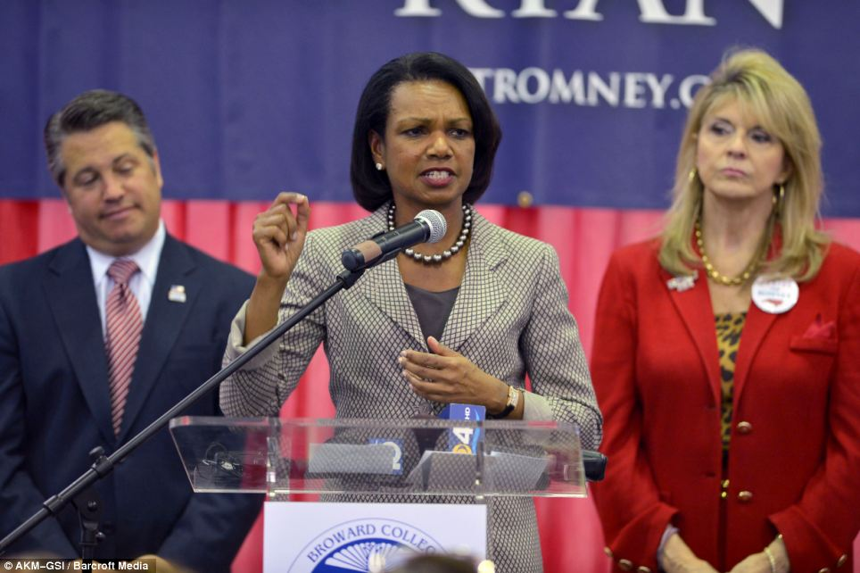Words of encouragement: Former Secretary of State Condoleezza Rice attends a Get-Out-To-Vote Event for support of Romney in Davie, Florida