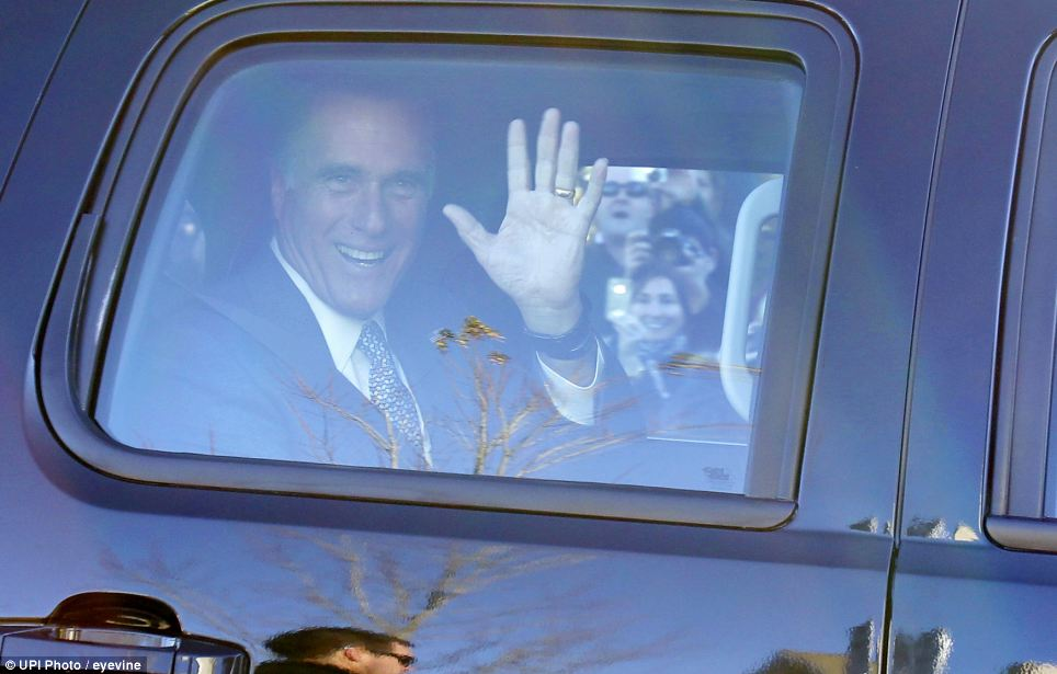 He's off! Voters swarm Mitt Romney's car as he drives away from Beech Street Center to catch his campaign plane