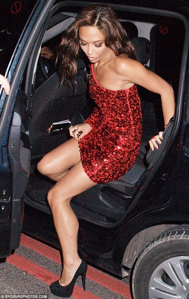 Shining star: Myleene had to be extra careful exiting her car to avoid a wardrobe malfunction