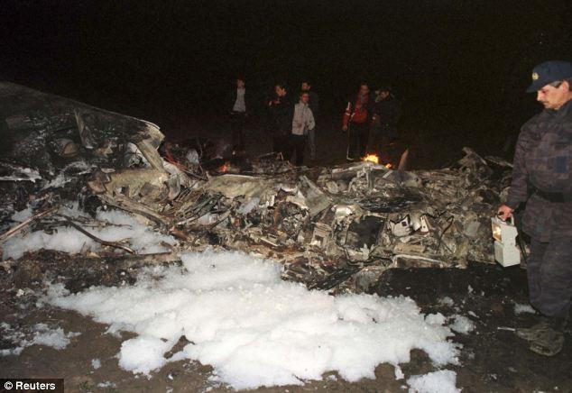 The wreckage of Mr Zelko's plane, pictured here in 1999, is now in Belgrade's museum