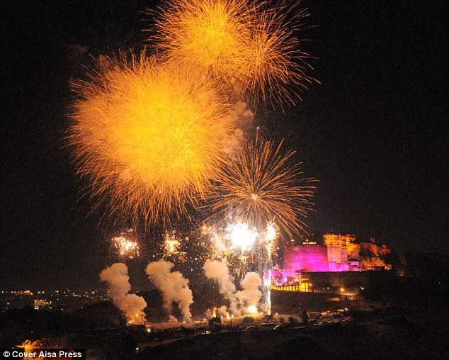 Test run: Fireworks light up the sky ahead of the lavish 50th birthday party