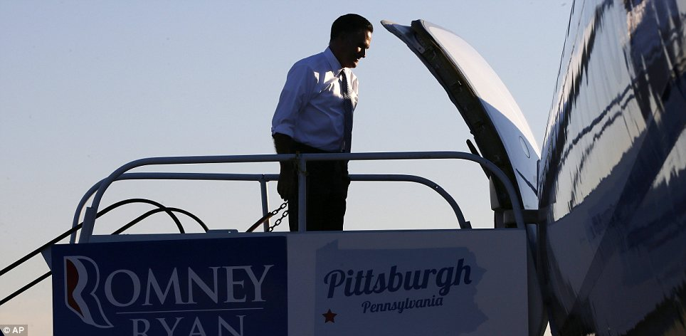 Heading home: Romney leaves his final campaign event, in Pittsburgh, Pennsylvania