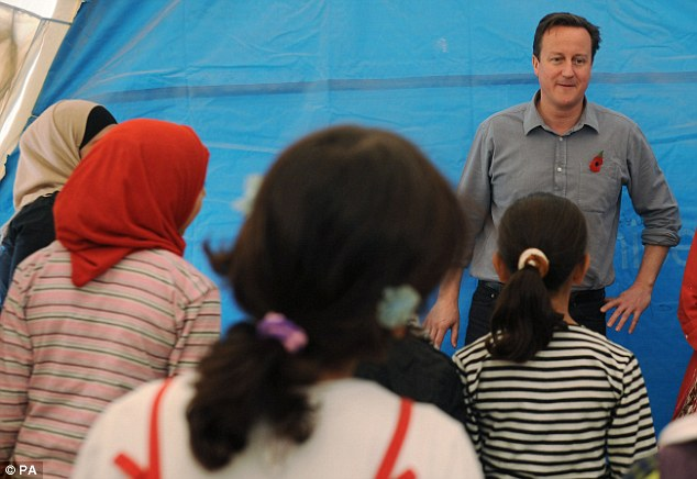 Teacher: Mr Cameron meets children and teachers in a classroom at the Za'atri refugee camp