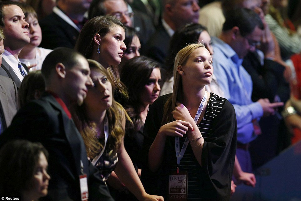 Not their night: Supporters watch voting returns at the election night rally for U.S. Republican presidential nominee Mitt Romney in Boston, Massachusetts