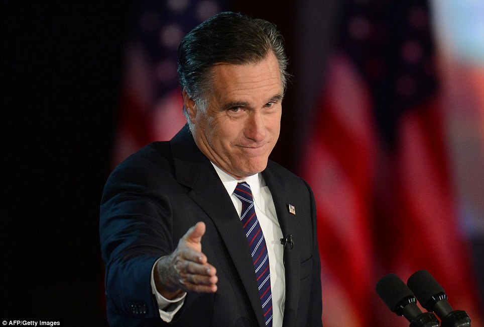 It's yours: US Republican presidential candidate Mitt Romney arrives on stage to concede the election to President Barack Obama in Boston