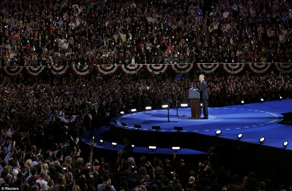 U.S. President Barack Obama gives his election night victory rally speech in Chicago last night