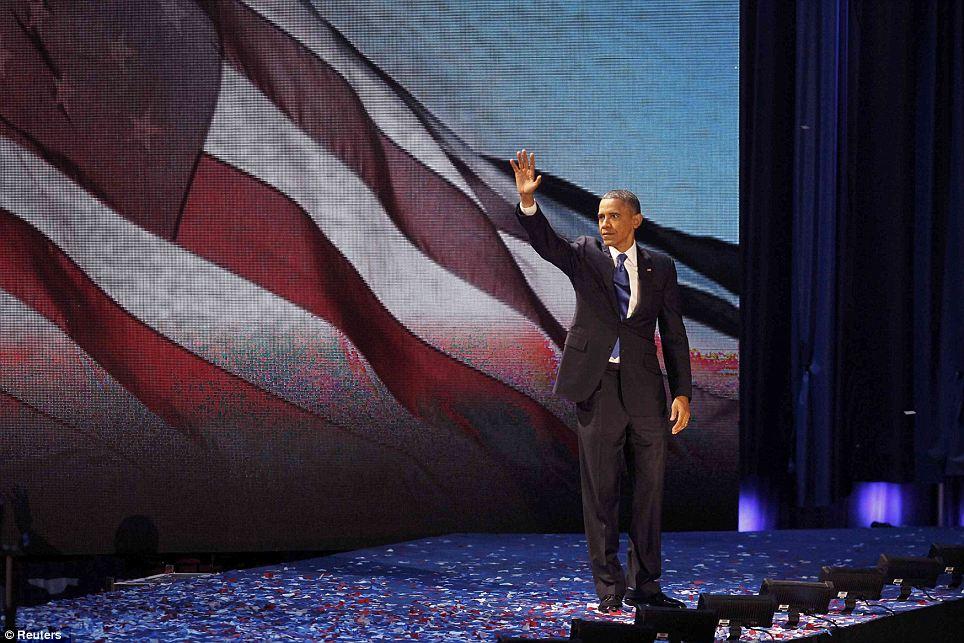 U.S. President Barack Obama celebrates after winning the U.S. presidential election in Chicago