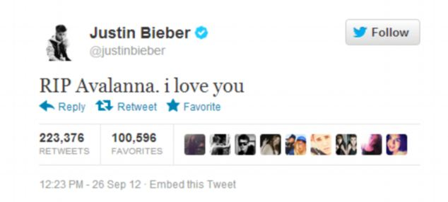 The previous most popular tweet was this message from @justinbieber