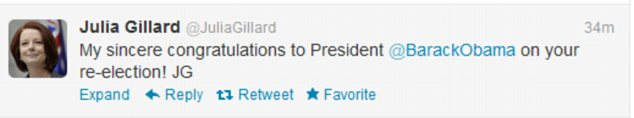 Australian PM Julie Gillard was another global figure quick of the mark to offer congratulations