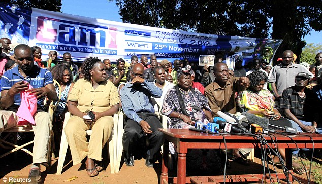 African ancestry: Relatives of Barack Obama give a news conference in reaction to his re-election in the village of Nyangoma Kogelo, 367 miles west of the Kenyan capital Nairobi