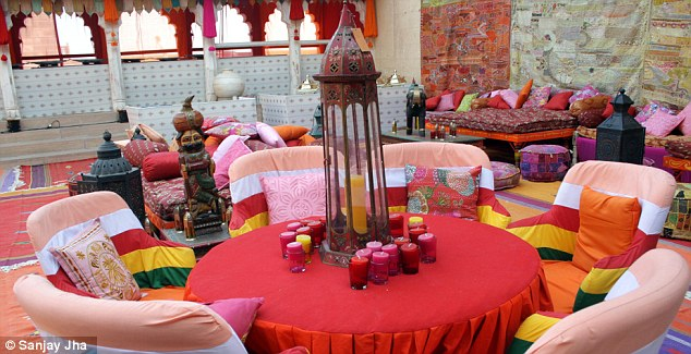 Multi-coloured: candles and striped-chairs decorated the rooms of the Fort