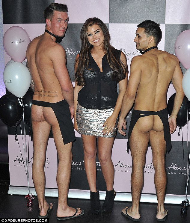 That's a bit cheeky: Jessica didn't know where to look when she was joined by two naked butlers