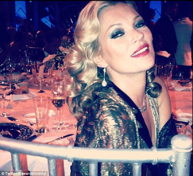 'Kitty Kat': Kate Moss wows in gold lame at the extravaganza held by Campbell which carried on until Thursday morning