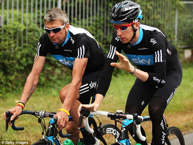 Training: Wiggins was out on a training ride close to the his Cheshire home when he was hit the by woman driver near a petrol station