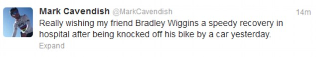 Message of support: Mark Cavendish hoped Wiggins recovered quickly from his injuries