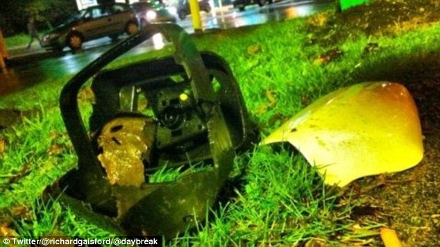 Parts of the car that hit Bradley Wiggins outside a petrol station