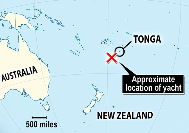 Where they are: The pair are now floating around 434 miles south-west of Tonga and around 783 miles north-east of New Zealand