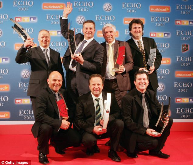 Praised: Kastelruther Spatzen after winning Best Folk Music at the Echo Awards in 2007, an award which may now be taken from them