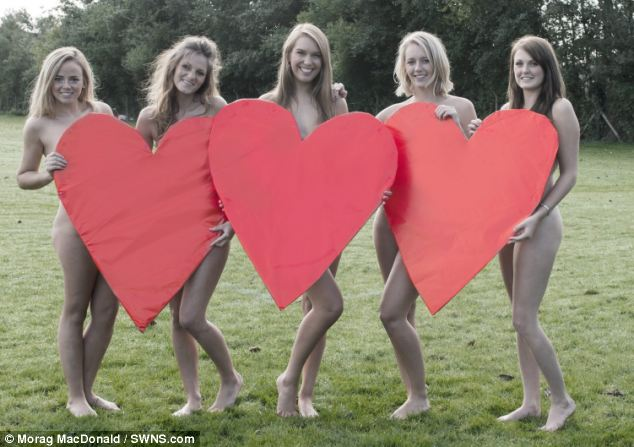 Heartfelt: February's picture of the nude students in the charity calendar has a Valentine's Day theme