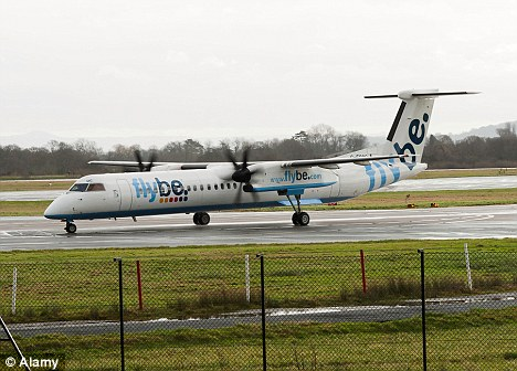 Emergency landing: A Flybe Bombardier Q400 airliner like this had to land on one engine after a fault developed mid-air