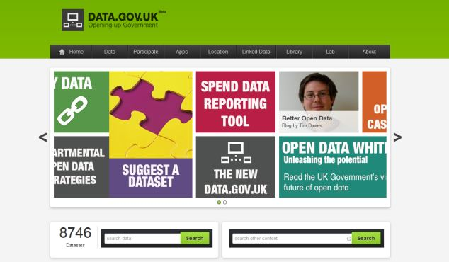 The app is believed to resemble the data.gov.uk site with large tiles showing key information