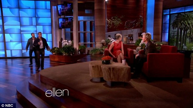Prankster: Ellen tricked Miley by telling her the men in question were there to fix a broken light on set
