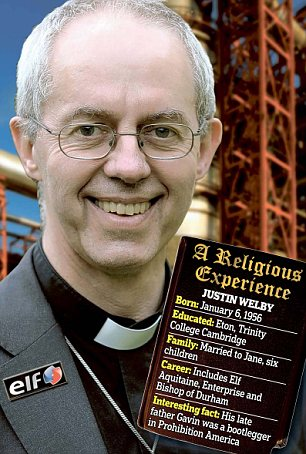 Earthly role: Justin Welby is also a member of the Parliamentary Commission on Banking Standards