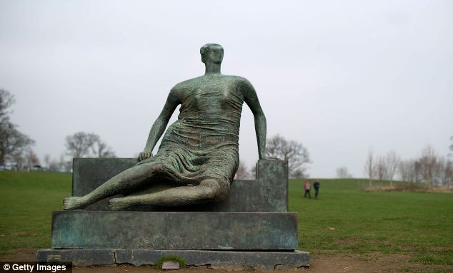 Sculpture of Draped seated woman by Henry Moore at Yorkshire Sculpture Park in Wakefield, England
