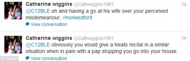 Today on Twitter Cath Wiggins hit back with these two posts after one user who posted: 'Why does Brad swear at press/news cameras? As a role model to young cyclists this is poor. #noneedforit'