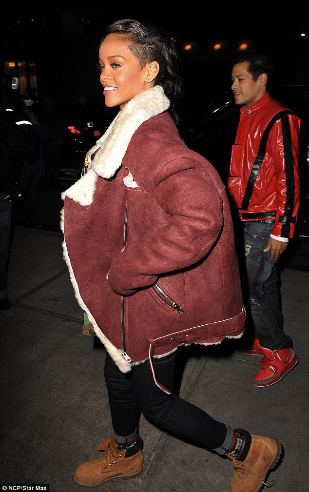 Bundling up: Rihanna continues to promote her upcoming album and was spotted in New York City on Thursday wearing a very bulky jacket