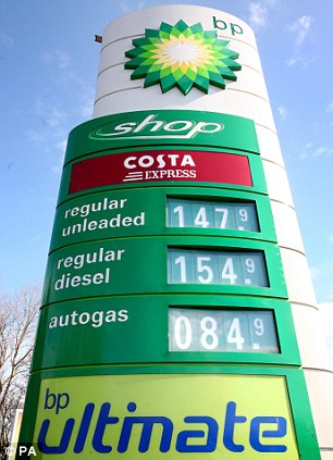 A general view of high fuel prices at a service station on the M2 near Rainham, Kent