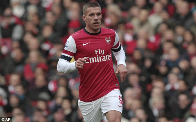Back on track? Lukas Podolski's Arsenal will hope to bounce back from last week's loss at Manchester United
