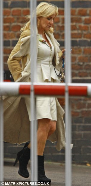 Feeling the loss: Michelle Collins was seen leaving the set and appeared downcast