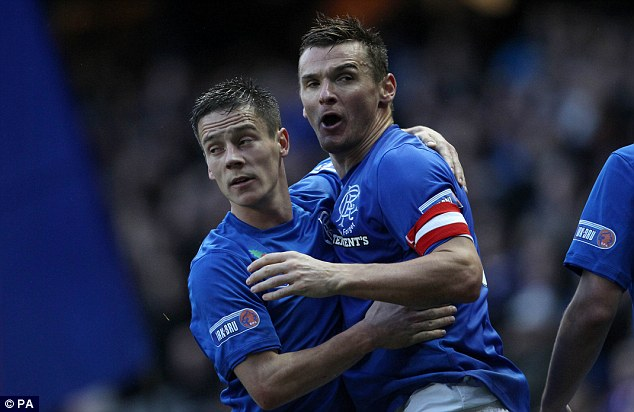 That'll do: McCulloch (right) celebrates the first goal with Ian Black