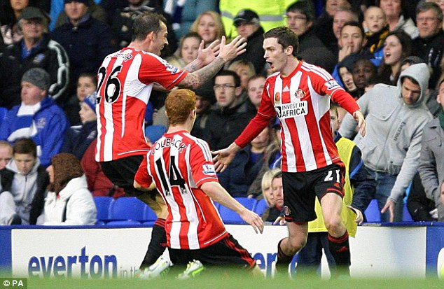 Not so shot-shy: Sunderland took the lead on the cusp of half-time through Adam Johnson (right)