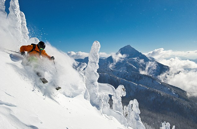 A skier tackles one of the slopes at Revelstoke in British Columbia