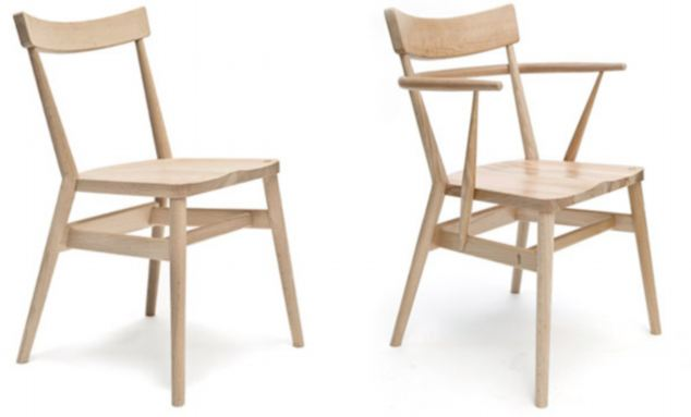 Pupils in the new school will sit down on £300 bespoke chairs, left, created by one of Britain's leading furniture designers, Russell Pinch. Teachers will have their own version, right with arms - retailing at £400