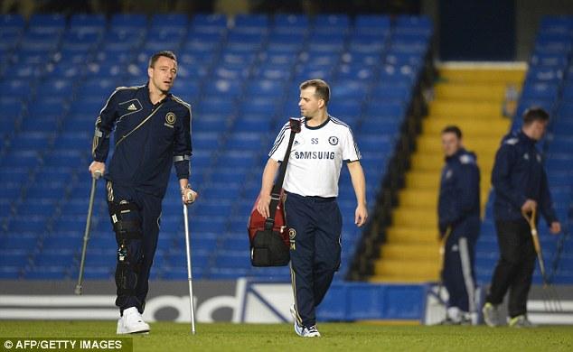 Scan: Terry left Stamford Bridge on crutches