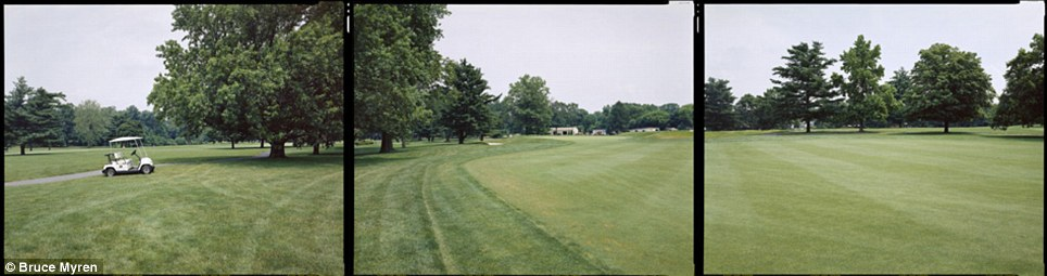 """Discovery: Bruce Myren hopes to document the changing landscape of America through his portraits. A golf course in Riverton, New Jersey, is seen here, coordinates N 40° 00' 00"""" W 75° 00' 00"""""""