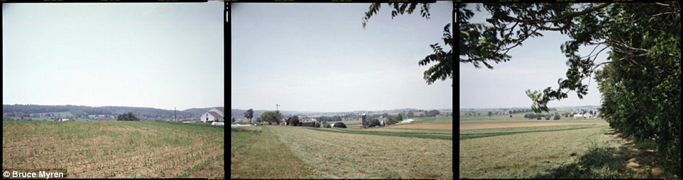 """Long term: Mr Myren began the project in 1998 and has continued shooting landscape portraits in the same way for more than a decade. Gap, Pennsylvania, N 40° 00' 00"""" W 76° 00' 00"""", is seen here"""