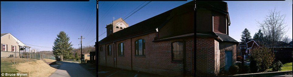 Civilization: The church in Fredericktown Hill, Pennsylvania, seen here in 2006, looks is elongated by Mr Myren's panorama
