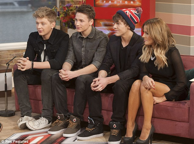 Their time to shine: The boyband did several interviews on Monday and were joined by Caroline Flack on This Morning