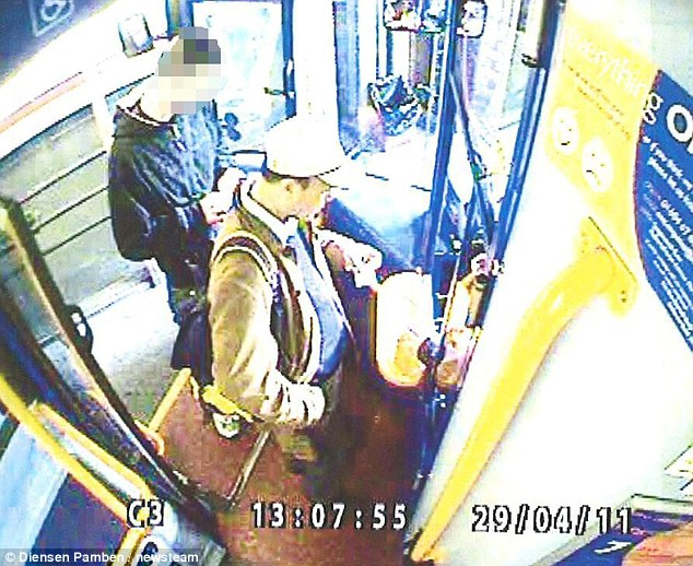 One of the last known pictures of Du who is seen here on a bus to Wootten where the murders took place