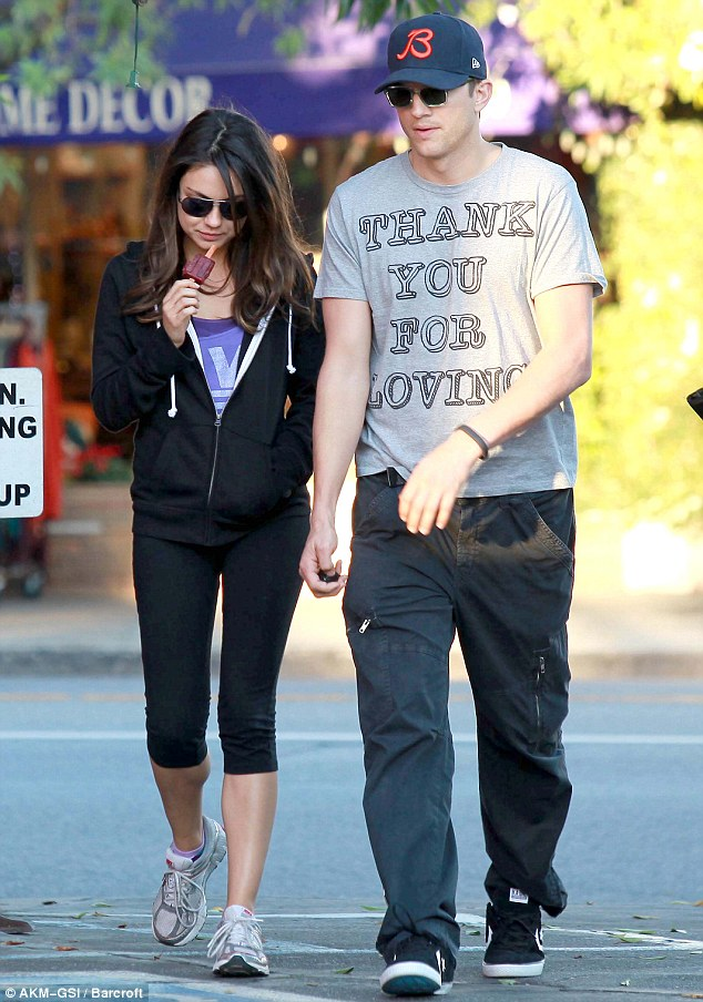 Already serious: Mila and boyfriend Ashton Kutcher are already in a deeply committed relationship despite it only being a few months. The pair are pictured out shopping in North Hollywood in October