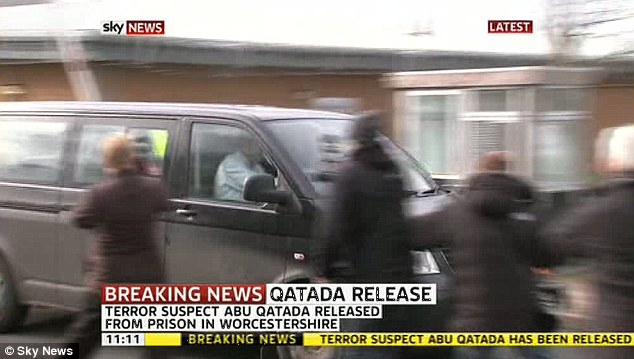 Driven off: His release comes after a British immigration court sided with European judges by declaring it would be a breach of the fanatic's human rights to put him on a plane to face terror charges in Jordan